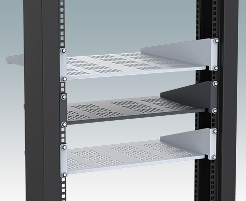 "Universal shelves for 19"" racks"