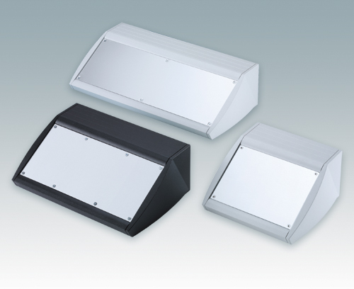 Robust and ergonomic sloping front enclosures